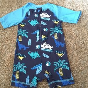 Old Navy blue swimwear onesie dinosaur theme 3-6mo